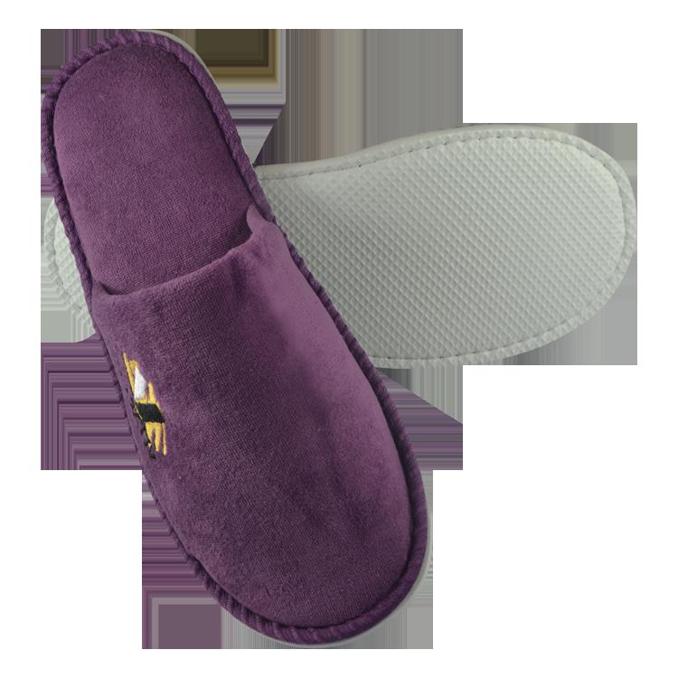 Soft White EVA sole Velvet Hotel slipper with Custom logo