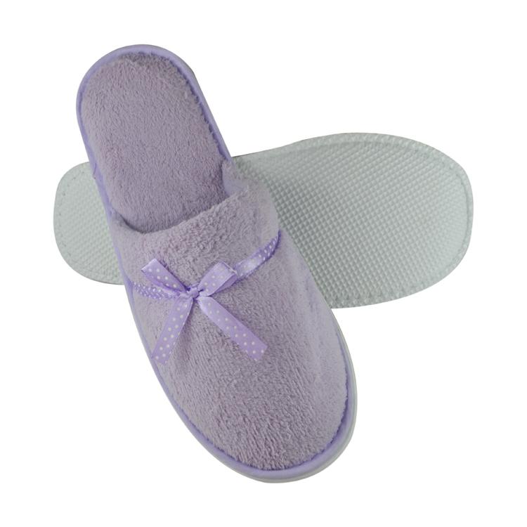 100% cotton White Soft velour Hotel slipper