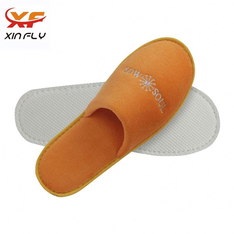 Wholesale Closed toe mink hotel slipper with Custom logo