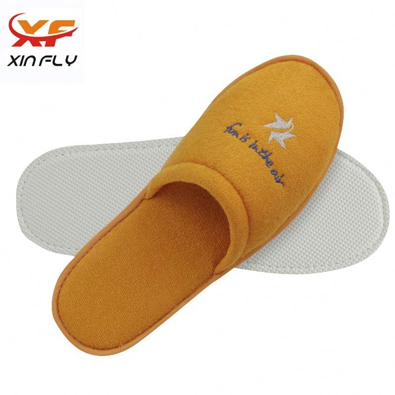 Wholesale Open toe brushed hotel slipper with Customized Logo