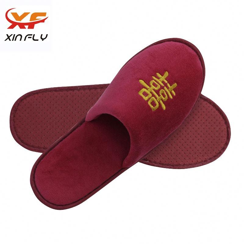 100% cotton Open toe hotel slipper dote sole with logo