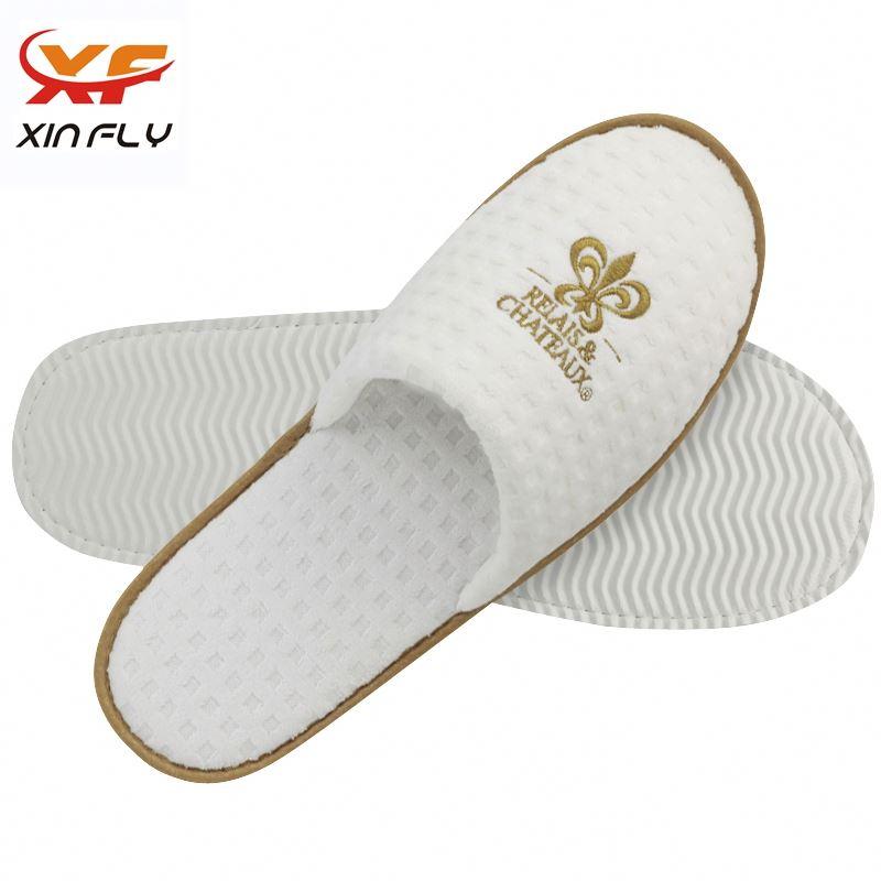 Wholesale Open toe hotel fleece slipper disposable recycle